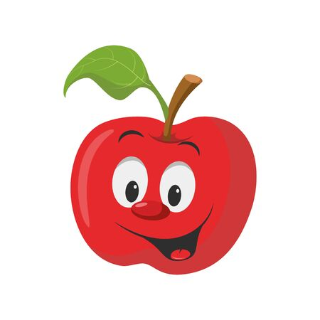 Fruits Characters Collection: Vector illustration of a funny and smiling apple character. Ilustração