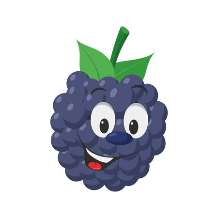 Fruits Characters Collection: Vector illustration of a funny and smiling blackberry character.