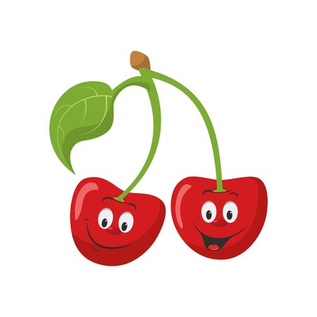 Fruits Characters Collection: Vector illustration of a funny and smiling pair of cherries character.