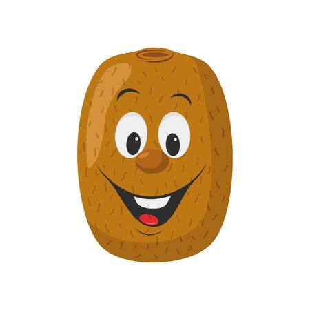 Fruits Characters Collection: Vector illustration of a funny and smiling kiwi character.