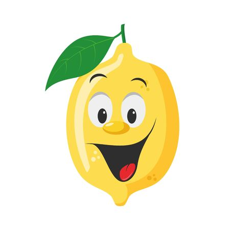 Fruits Characters Collection: Vector illustration of a funny and smiling lemon character. Ilustração