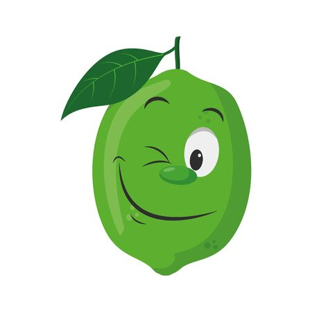 Fruits Characters Collection: Vector illustration of a funny and smiling lime character.
