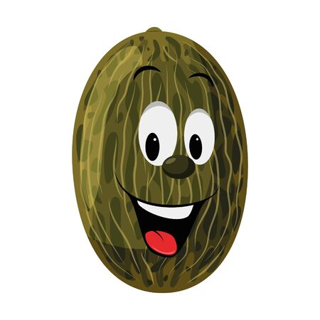 Fruits Characters Collection: Vector illustration of a funny and smiling melon character.