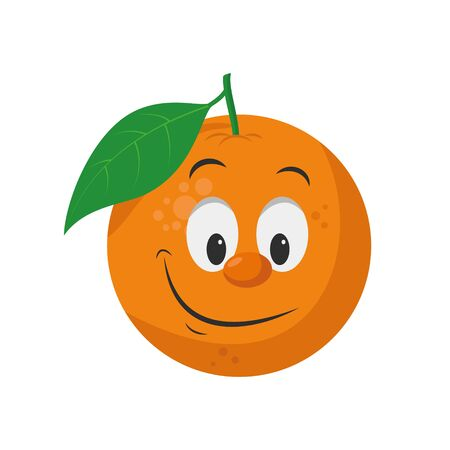 Fruits Characters Collection: Vector illustration of a funny and smiling orange character.