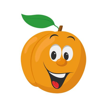 Fruits Characters Collection: Vector illustration of a funny and smiling peach character. Ilustração