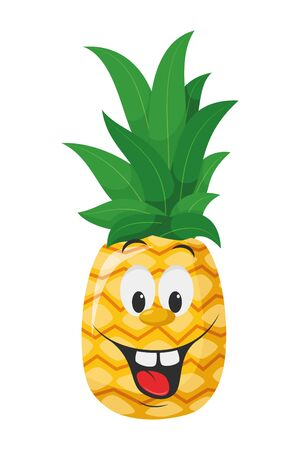 Fruits Characters Collection: Vector illustration of a funny and smiling pineapple character.
