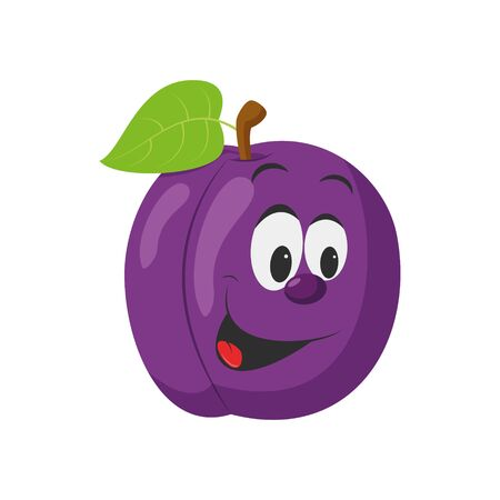 Fruits Characters Collection: Vector illustration of a funny and smiling plum character.
