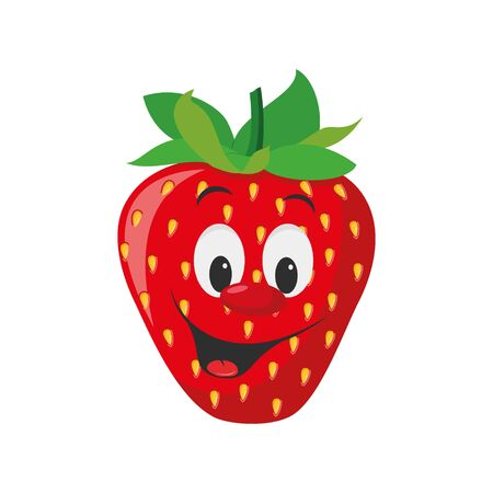 Fruits Characters Collection: Vector illustration of a funny and smiling strawberry character.