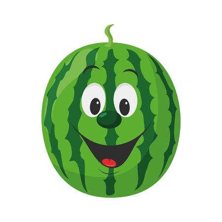 Fruits Characters Collection: Vector illustration of a funny and smiling watermelon character. Ilustração