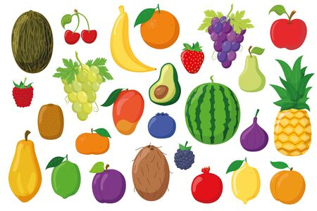 Fruits Collection: Set of 26 different fruits in cartoon style Vector illustration