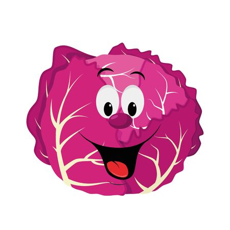 Vegetables Characters Collection: Vector illustration of a funny and smiling purple cabbage in cartoon style.