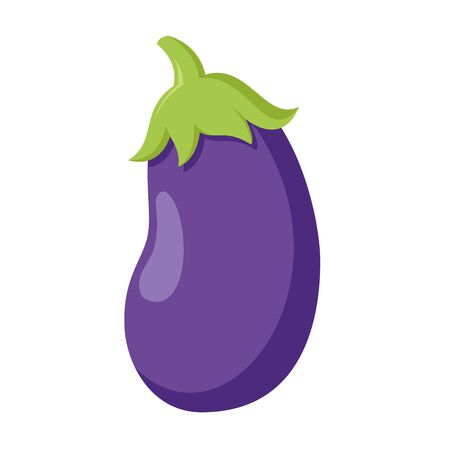 Vector illustration of a funny eggplant in cartoon style. Ilustracja