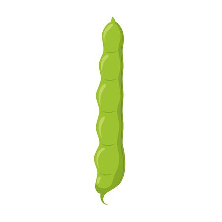 Vector illustration of a funny green beans in cartoon style.