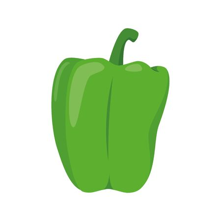 Vector illustration of a funny green pepper in cartoon style. Ilustracja