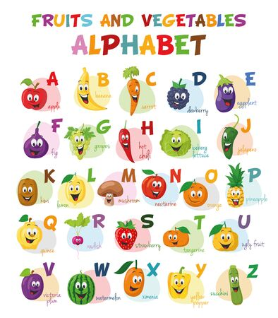 Cute cartoon illustrated alphabet with funny fruits and vegetables characters. English alphabet. Learn to read. Isolated Vector illustration.