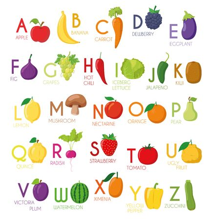 Cute cartoon illustrated alphabet with fruits and vegetables. English alphabet. Learn to read. Isolated Vector illustration. Ilustracja