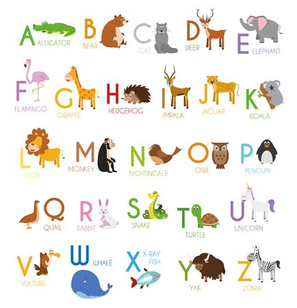 Cute cartoon zoo illustrated alphabet with funny animals. English alphabet. Learn to read. Isolated Vector illustration. Ilustracja