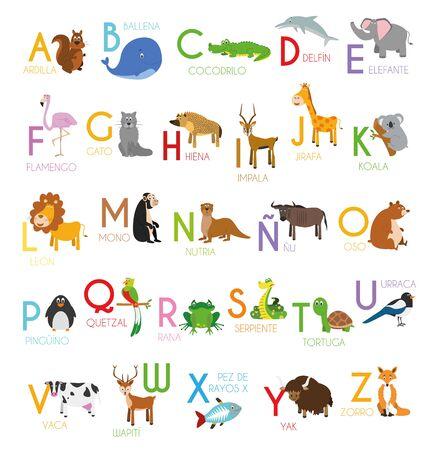 Alfabeto ilustrado zoológico de dibujos animados lindo con animales divertidos. Alfabeto español. Aprender a leer. Ilustración de vector aislado.
