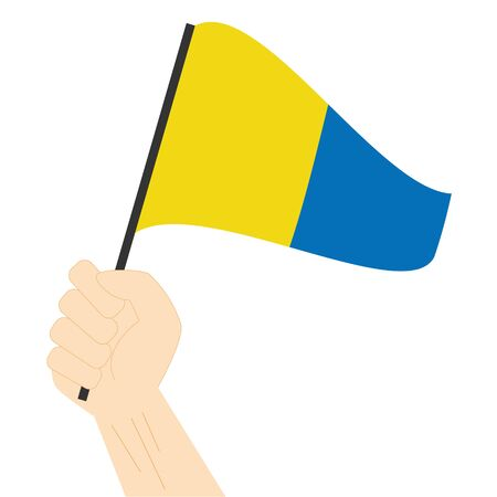 Hand holding and rising the maritime flag to represent the number Five Vector Illustration