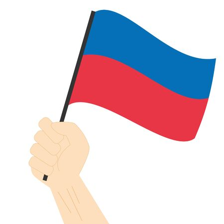 Hand holding and rising the maritime flag to represent the letter E Vector Illustration Illustration