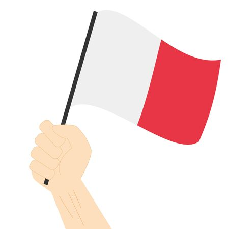 Hand holding and rising the maritime flag to represent the letter H Vector Illustration Illustration