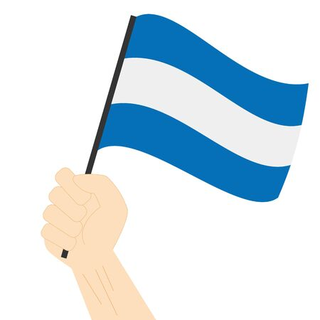 Hand holding and rising the maritime flag to represent the letter J Vector Illustration Illustration