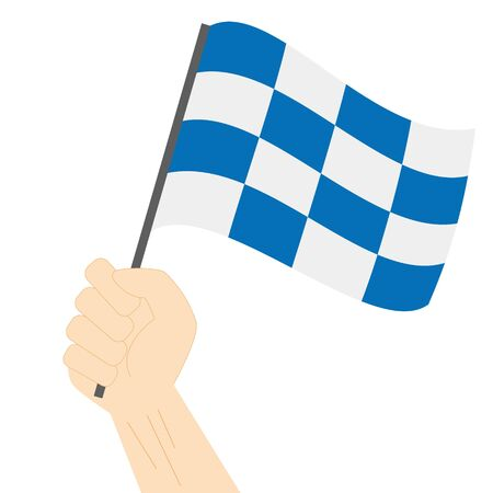 Hand holding and rising the maritime flag to represent the letter N Vector Illustration