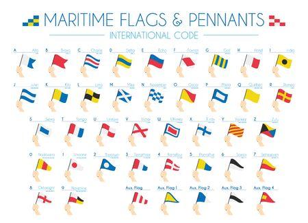 Bandiere e gagliardetti marittimi Codice internazionale Vector Illustration
