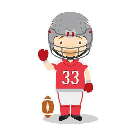 Sports cartoon vector illustrations: American Football Illustration