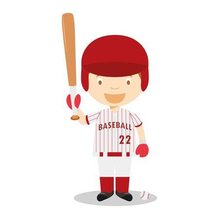 Sports cartoon vector illustrations: Baseball