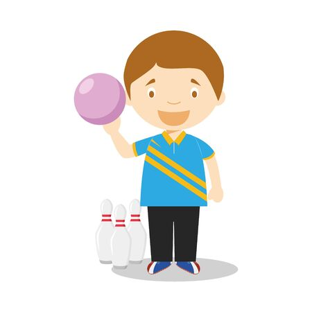 Sports cartoon vector illustrations: Bowling