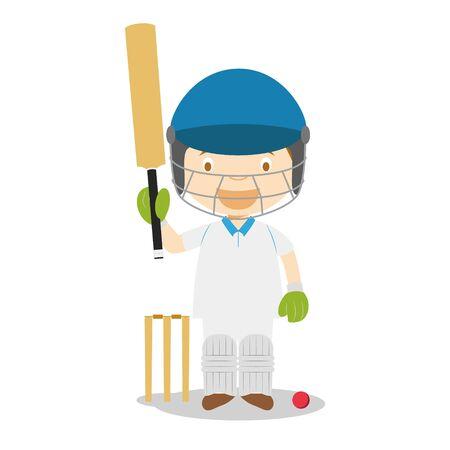 Sports cartoon vector illustrations: Cricket