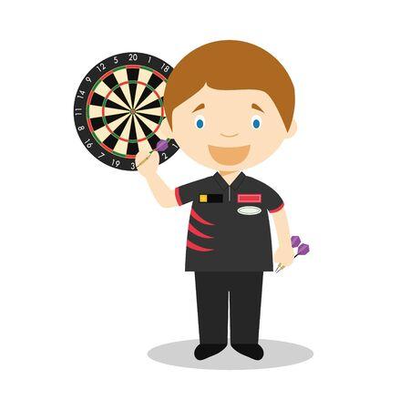 Sports cartoon vector illustrations: Darting