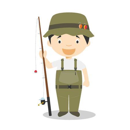 Sports cartoon vector illustrations: Fishing Illustration