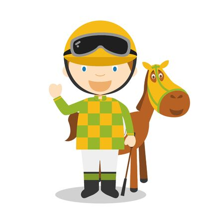 Sports cartoon vector illustrations: Horse Racing