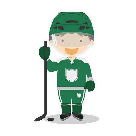 Sports cartoon vector illustrations: Ice Hockey