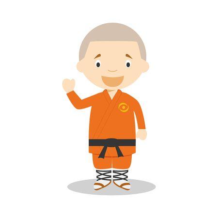 Sports cartoon vector illustrations: Kung Fu