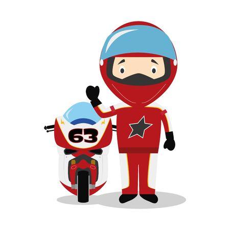 Sports cartoon vector illustrations: Motorcycling Illustration