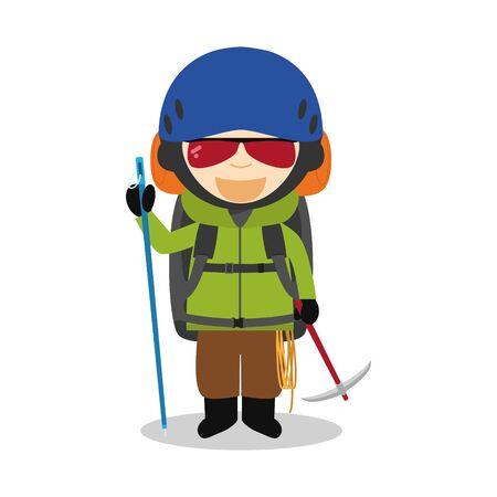 Sports cartoon vector illustrations: Mountain Climbing Illustration