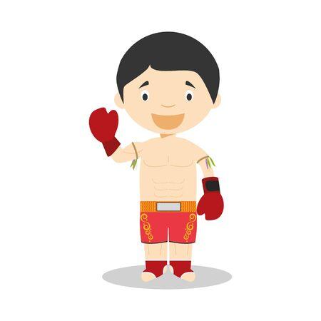 Sports cartoon vector illustrations: Muai Thai Illustration