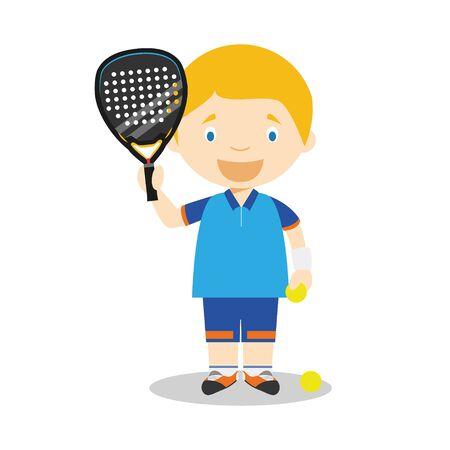 Sports cartoon vector illustrations: Paddle Tennis
