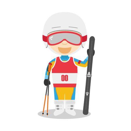Sports cartoon vector illustrations: Skiing Illustration