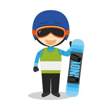 Sports cartoon vector illustrations: Snowboarding Illustration