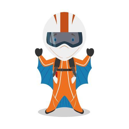 Sports cartoon vector illustrations: Wingsuiting Illustration