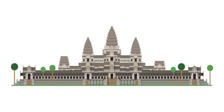 Angkor Vat (Cambodge). Isolé sur illustration vectorielle fond blanc.