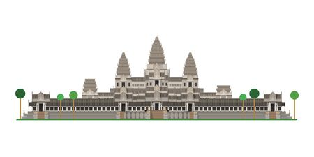 Angkor Wat (Cambodia). Isolated on white background vector illustration.