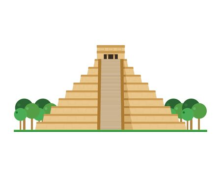 Kukulcan Temple, Chichen Itza (Mexico). Isolated on white background vector illustration.