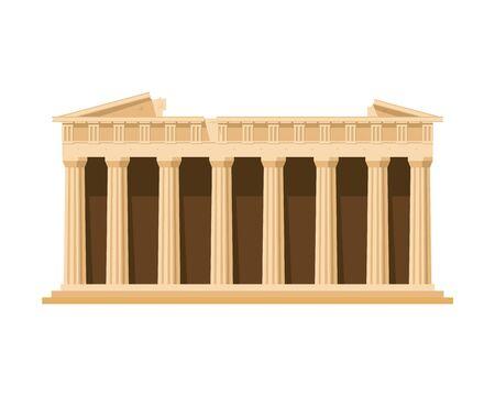 Partenone (Atene, Grecia). Isolato su sfondo bianco illustrazione vettoriale.