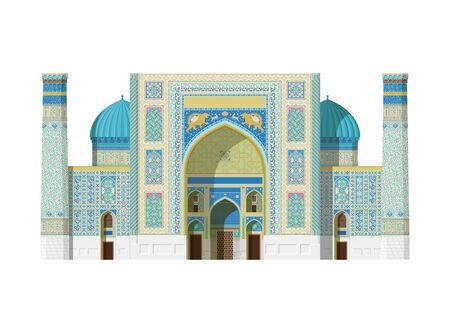 Sher Dor Madrasah, Registan (Samarkand, Uzbekistan). Isolated on white background vector illustration.