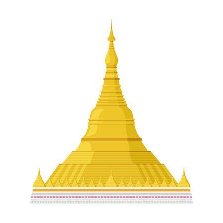 Shwedagon Pagoda (Yangon, former Rangoon, Burma). Isolated on white background vector illustration.
